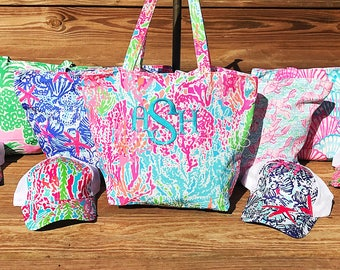 Monogram Lilly Pulitzer Inspired Totes, Personalized Beach Bag, Monogrammed Hats, Bridesmaids Gifts, Vacation Bag, Handbag, Summer