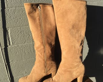 Vintage Size 7 Golo Knee High Boots from the 1970's Suede Tan Seventies Zip High Heeled Brown