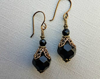 Faceted black onyx earrings on antique brass with Vintaj bead caps and vintage czech//black onyx earrings on antique brass//onyx earrings