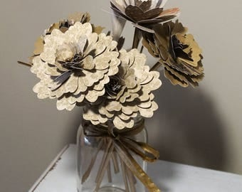 Paper Flower Mason Jar Bouquet - Flowers with Stems in Antique Gold