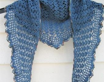 blue lace shawl , alpaca shawl, spring shawl, crochet lace shawl, blue scarf, lace wrap, lightweight summer shawl, soft wool shawl