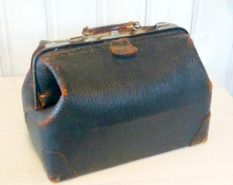 Antique Doctor's Bag, Black Genuine Cowhide Leather, Monogrammed Dr. E.A.M., Worn-Condition, Large Medical Bag, Apothecary Bag
