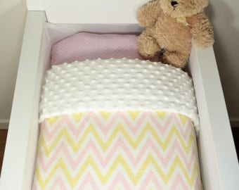 Bassinet quilt OR Bassinet and fitted sheet set - Soft pink and yellow chevron AND white minky