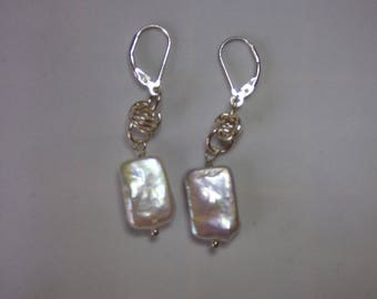 Sterling Silver Earrings.  Chainmaille.  Pearls.