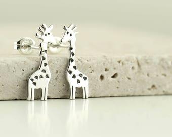 Giraffe Stud Earrings - Sterling Silver Giraffe Jewellery