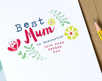 Mother's Day card   Personalised Mother's Day Card   Best Mum Card