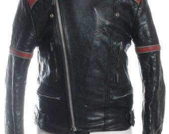 Vintage 1970's Bobo Black Leather Biker Jacket M - www.brickvintage.com