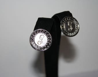 Vintage Sterling Silver Round Monogrammed G Art Deco Clip-on Earrings