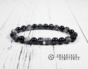 Banded Agate Bracelet - Men Bracelet, Black Bracelet, Minimalist Bracelet, Black Stretch Bracelet, Men Gemstone Bracelet