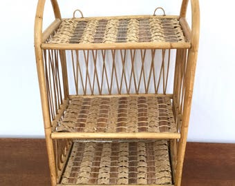 Wicker And Reed 3 Tier Hanging Shelf, Wall Rattan Shelf, Bohemian Furniture,