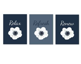 Bathroom Wall Decor, Relax Refresh Renew, Navy Blue Bathroom Decor, Bathroom  Art,