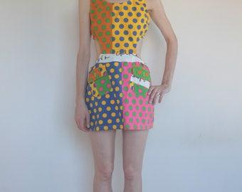 90's Moschino Jeans cut out pop 60's mod go-go mini dress!