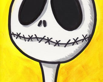 "Nightmare Before Christmas Jack Skellington 9"" x 12"" Acrylic Painting"