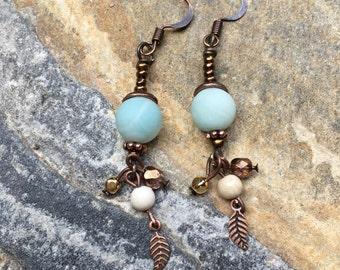 Amazonite stone earrings copper earrings cream river stone earrings leaf charm earrings bohemian earrings dangle drop earrings boho chic