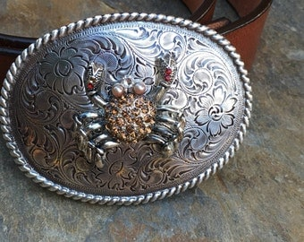 bohemian belt buckle sparkly crab belt buckle Floral Engraved belt buckle nautical belt buckle women's belt buckle boho Belt Buckle beach