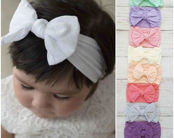 Baby Headbands, Baby Head wraps,Nylon Baby headbands, nylon headband, girls headbands, white baby headband, Infant toddler newborn headbands