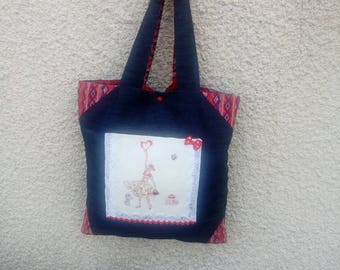 bag / Tote, fabric and embroidery, to wear to the shoulder
