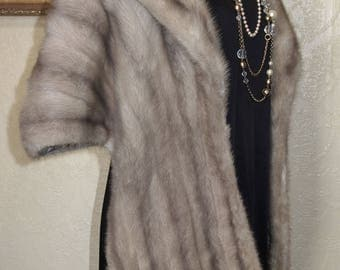 Rare Color...xlarge very elegant CERULEAN SILVER GRAY Mink Stole coat cape stole with Large Stand Up Collar sz 16-18