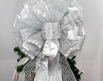 Silver Lame Sparkle Mesh Christmas Tree Bow Topper - Silver Christmas Bow