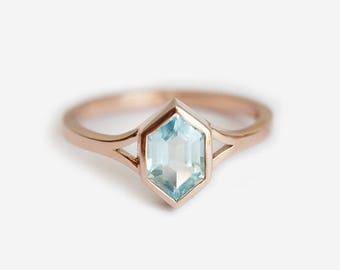 Aquamarine Engagement Ring, Hexagon Aquamarine Ring, Modern Engagement Ring, Split Shank Ring, Blue Ring, Solitaire Ring, Unique Shape Ring