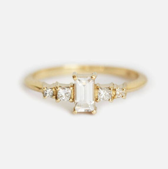 White Sapphire Ring Sapphire engagement Ring Yellow Gold
