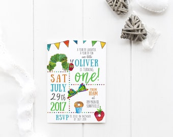 The Very Hungry Caterpillar themed invitation, DIGITAL DOWNLOAD, colourful boy's first birthday baptism baby shower invite