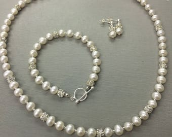 Freshwater Pearl jewellery set Sterling Silver real pearl & diamante wedding jewelry, ivory pearl bridal jewellery Mother of the bride gift
