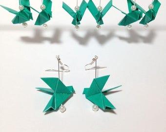 Origami Bird Earrings, Origami Earrings, Origami Dove Earrings, Paper Crane Earrings, Love Birds, Wedding Party Jewelry, Bridesmaids Gifts