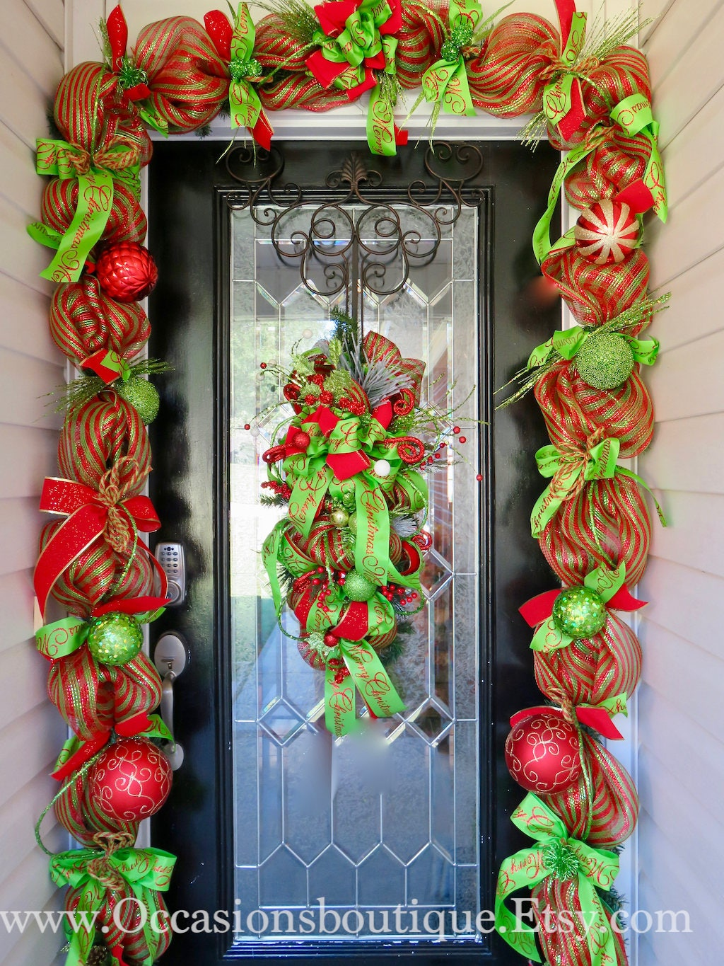 christmas swag with matching garland christmas decor door garland door hanger christmas swag whimsical christmas wreath red and green