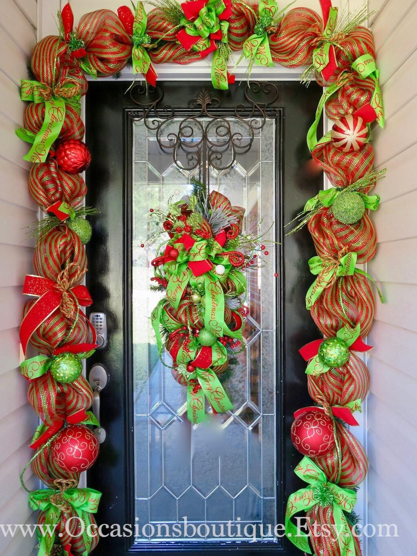 christmas swag with matching garland christmas decor door garland door hanger christmas swag whimsical christmas wreath red and green