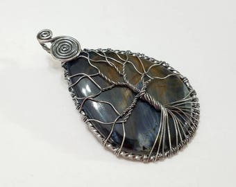 Pietersite, Wire Wrapped, Sterling Silver, Tree, Pendant, Pear, .925 Sterling Silver, Necklace, Focal, Beading, Jewelry, Supply