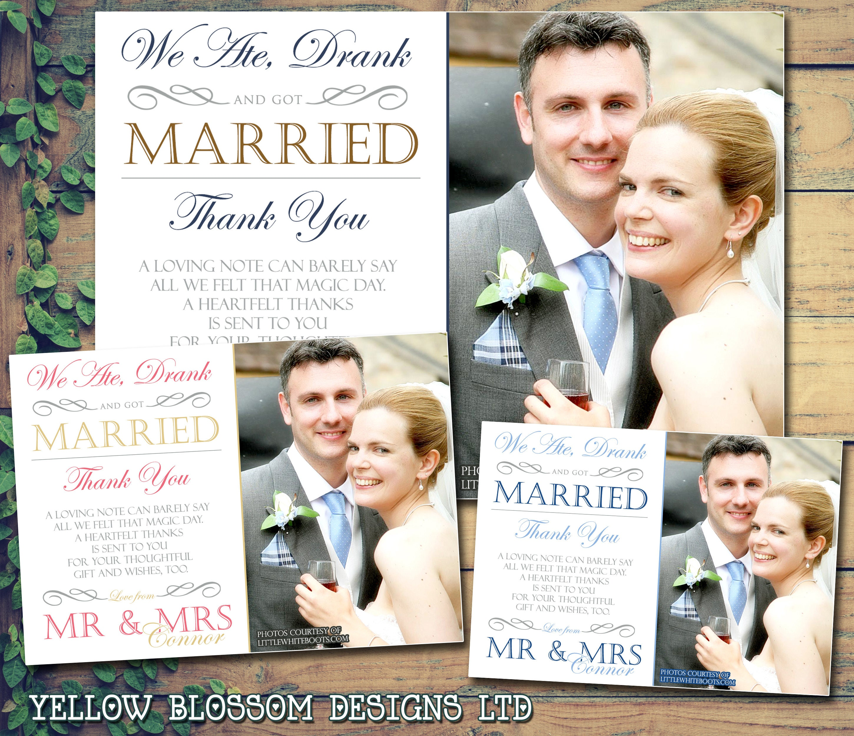 10 Wedding Thank You Cards Personalised Printed Photo Mr Mrs Folded Blank Flat Postcards Eat