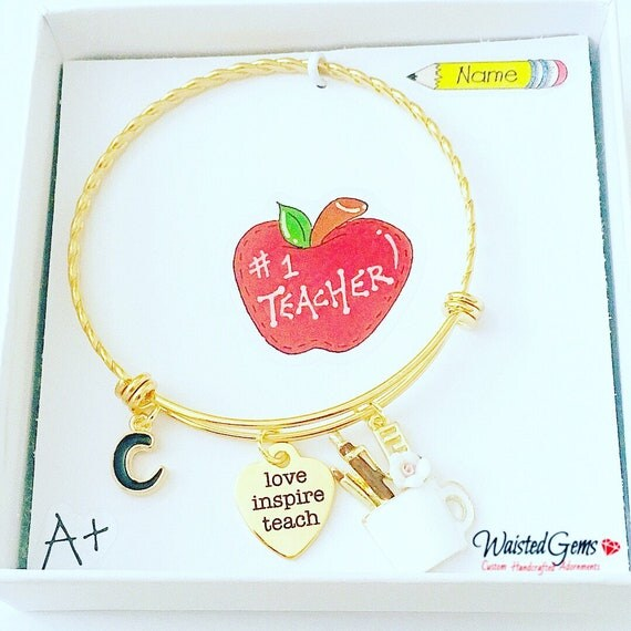 Love Teach Inspire Custom Charm Bracelet, Teachers Gifts, Back to School, Students, Charm Bracelet, Teaches, zmw9902.0