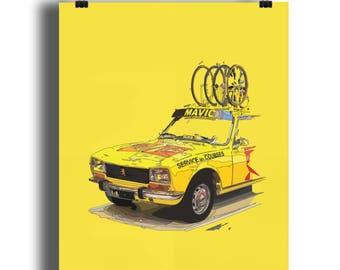 Peugeot 504 Mavic Neutral Support Car Print Illustration, Tour De France, Cycling