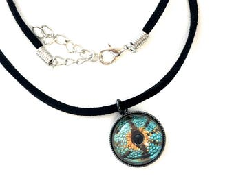 DRAGON EYEBALL NECKLACE black faux suede necklace goth jewelry