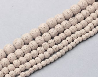 Dyed Natural Lava Beads Full Strand 15.5 inch Round White Volcanic Rock Gemstones wholesale mala 4mm 6mm 8mm 10mm 12mm 14mm MHA-169