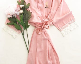 Personalized Bridesmaid Robes - Personalized Robes - Monogram Robes for Bridesmaids - YOU CHOOSE QTY (EB3184M) Lace Bridal Robes