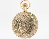 14K Tri-colored floral and diamond pocket watch signed Seth Thomas
