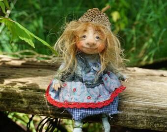 """Ingeborg , 7"""" needle & wet felted OOAK Gnome"""