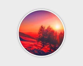 """Sunset Mountains 2 Explore Earth Bumper Sticker Decal 4"""""""