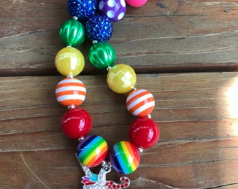 Rainbow Unicorn Chunky Bubblegum Bead Necklace