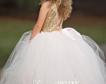 Angelic Blush Flower Girl Dress, Blush and Gold  Sequin Flower Girl Dress, Princess Birthday Dress