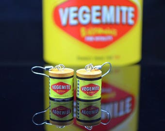Miniature Vegemite earrings, miniature food with silver hooks, Aussie jewellery, dangle earrings