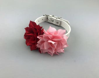 Valentine's Day Dog Collar Flower for Pets Pink and Red Floral Valentine Decor Pet Apparel