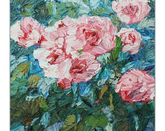 Original floral oil painting, textured palette knife painting of roses, pink roses, contemporary art, Aminovart
