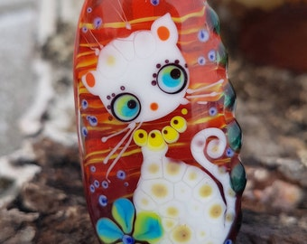 Lampwork cat bead, artisan glass white cat focal bead, lampwork glass cat pendant kitten lampwork beads cat gift sra
