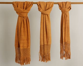 Organic Cotton Scarf,  Fair Trade Scarf, Mexican Scarf, Soft Lightweight scarf, gold scarf, organic dyes rebozo - dyed with tree bark