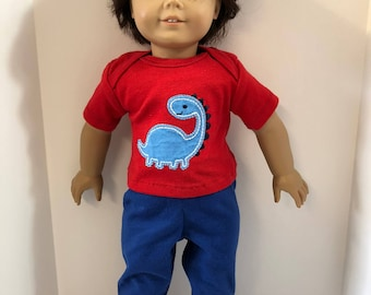 "18 inch BOY Doll Clothes, Cute ""DINOSAUR"" Top, Blue Pants, 2-Piece Outfit, 18 inch AG Boy Dolls, 18 inch Boy Doll Clothes, Love Dinosaurs!"