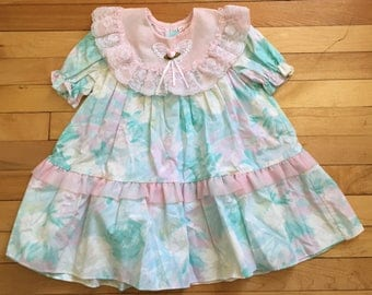 Vintage 1980s Toddler Girls Pink Pastel Floral Lace Dress! Size 2