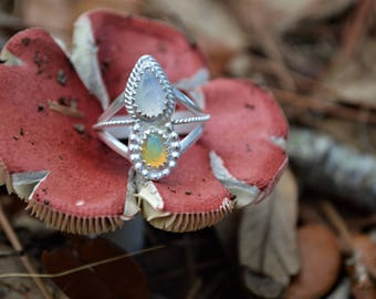 Handmade sterling silver powerful Ethiopian opal and moonstone ring//size 8//OOAK